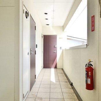 玄関前の共用部はタイル張り。