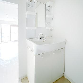 洗面台はシンプルな棚付きタイプ。シャンプードレッサー仕様で朝の身支度もしやすいですよ。