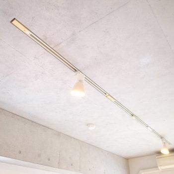 一方、天井はコンクリート打ちっ放し、照明はダクトレールでデザイナーズ感満載。