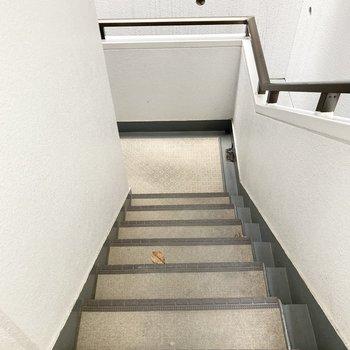 2階のお部屋ですが、地下にあるので1つ階段を下がります。