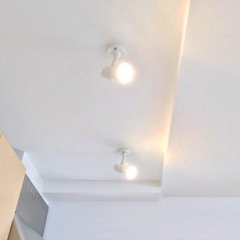 天井にはスポットライト。お洒落だな〜…(※写真は6階の反転間取り別部屋のものです)