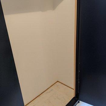 クローゼットは廊下部分にあります。大きめなので掃除機など入りそうです。