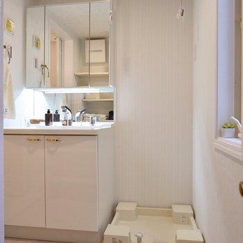 鏡の大きなおしゃれな洗面台と洗濯機置き場。