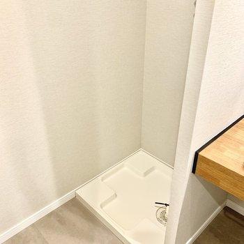 左には洗濯機を置けます。上部棚には洗剤などを置いておきましょう◎