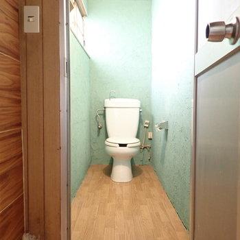 トイレもグリーン!コンセントがあるのでウォシュレットのあとづけはできそうでした。