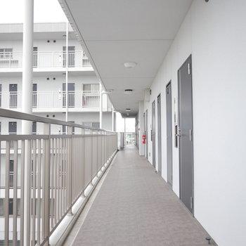 開放感があって風がよく通る共用廊下