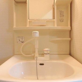 洗面台は白でシンプルに(※写真は2階の同間取り別部屋のものです)