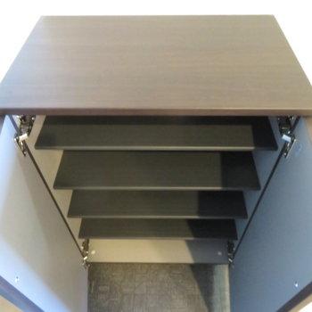 靴箱の上に物を置くスペースもありますね(※写真は6階の同間取り別部屋のものです)