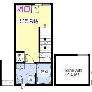 玄関は1階にありますが、お部屋は2階にあります。