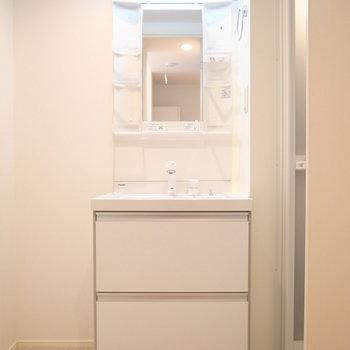 洗面台の左となりにラックや棚を置けます。