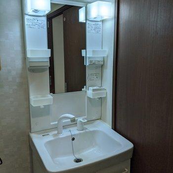 収納スペースが多く利用しやすい独立式洗面台。