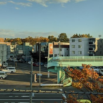 洋室からの眺望。車通りが多い正面の道路が見えます。