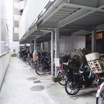 駐輪場(空き要確認)。屋根があり、雨の日も安心です。