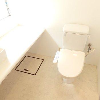 トイレも一緒のアメリカンセパレート。ウォシュレットもありますよ。(※写真は8階の同間取り別部屋のものです)