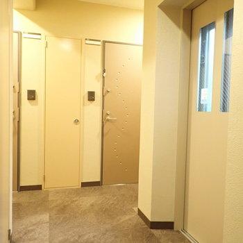 共用部】廊下。広くはないですが、照明のおかげで窮屈な感じはなかったです!