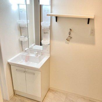 洗面台の横に洗濯機置き場。上の棚が便利です。