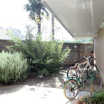 共用部】屋根付きの駐輪場と、