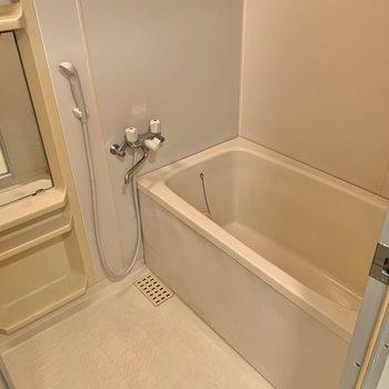 バスルームは便利なラックと鏡付き。
