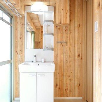 洗面台は入り口側に。朝に便利なシャンプードレッサー!