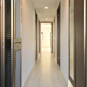 玄関から白が基調の内装。