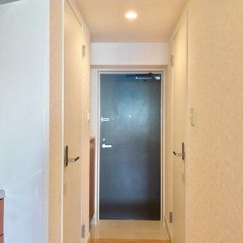 玄関とキッチンの間にはカーテンを掛けられるポールもありました。