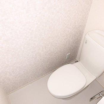 圧迫感のないトイレでした。※写真は通電前のものです