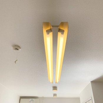 吊るされた蛍光管と並んだダウンライトが素敵◎ (※写真は4階の同間取り別部屋のものです)