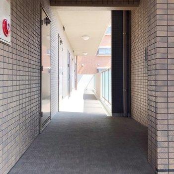 スッキリ片付いた共用廊下です