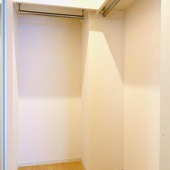 収納はウォークインクローゼットです。ライトもついているので見やすい◎(※写真は4階反転間取り別部屋のものです)