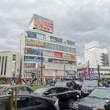 駅前はバスロータリーがあって、お店がいくつもありました。