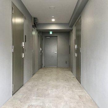 シャープな共用部。1フロア3部屋のみ。左手前のお部屋です
