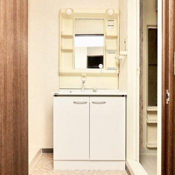 脱衣所に入って正面には洗面台。(※写真は3階同間取り別部屋のものです)