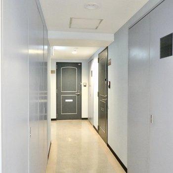 玄関前の共用部はレトロさもありますがしっかり清掃されているようでした。