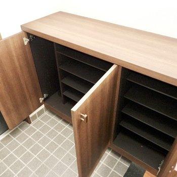 靴箱は大容量。左右どちらも1段に2足ほど靴が入る大きさです。(※写真は3階同間取り別部屋のものです)