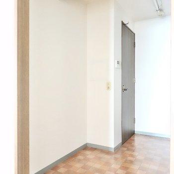 背面側のスペースもたっぷり。オーブンなども置けそうですね!奥の扉の先は廊下。(※写真は3階同間取り別部屋のものです)