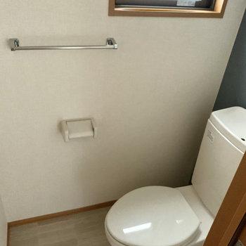 右の扉の中はトイレ。両方小窓があって爽やかに暮らせそう。