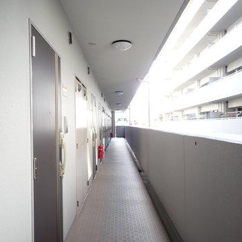 共用部】落ち着いた色合いの廊下です。