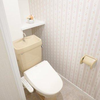 トイレも本体は既存物ですがウォシュレットが設置されています。