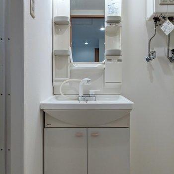 洗面台は棚、コンセントがあるので身支度がしやすいですね。