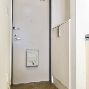 靴の脱ぎ履きもしやすそうな玄関です。※写真は3階の同間取り別部屋のものです