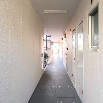 長い共用廊下の途中には……