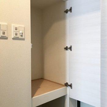 左の棚にはワンちゃん用アウトドアグッズを入れよう(※写真は12階の反転間取り別部屋、清掃前のものです)