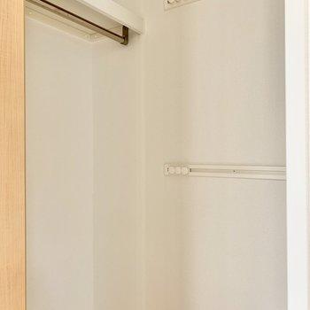 洋室にはウォークインクローゼット。左側にハンガーポール。