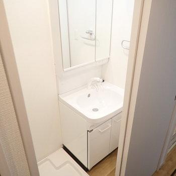 洗面台と洗濯機はおとなりに。とびらの後ろにあります。