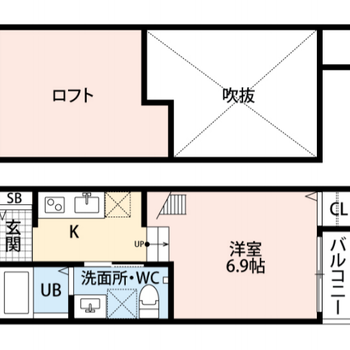 1人暮らしにぴったりなロフト付きのお部屋です。