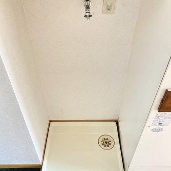 玄関横に洗濯機置場。ウイルスを部屋に持ち込みたくない方にぴったりだ。