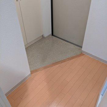玄関方面へ。靴をしまっておくとすっきりしますね。