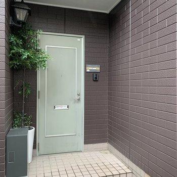 玄関はチョコミント色でかわいいですね