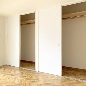 収納は2つ。どちらもハンガーポールがついているので掛ける収納にできます。