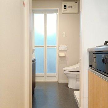 脱衣所でした。トイレは脱衣所にオープン!
